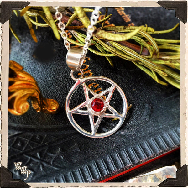 GARNET PENTACLE NECKLACE. Sterling Silver Talisman for Protection & Witchcraft.