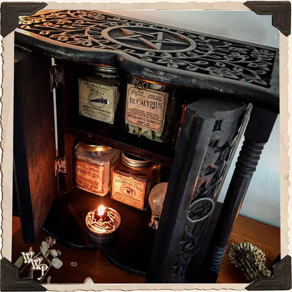 WITCH'S ALTAR HERBAL PENTACLE CHEST. Black Wood Carved Box for Crystals, Potions & More.