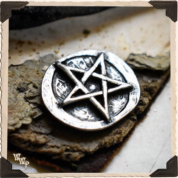 PENTAGRAM POCKET STONE. Pressed Metal Talisman For Protection & Magick.