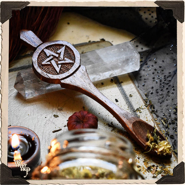 PENTAGRAM WOODEN SPOON. Carved Pentacle For Incense, Resin & Herbs.