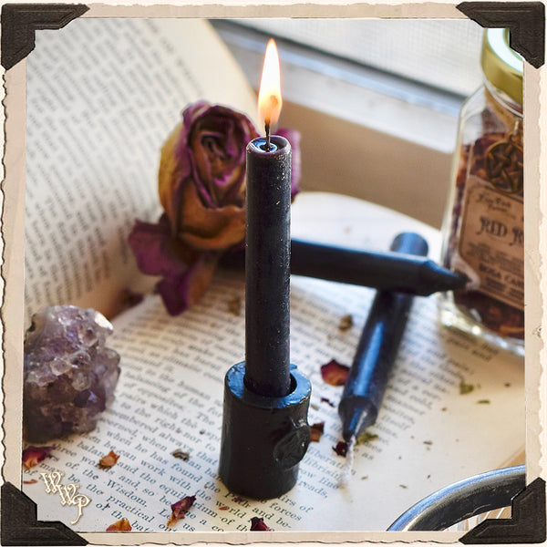 BLACK IRON PENTAGRAM CANDLE HOLDER. For Mini Taper, Chime & Spell Candles.