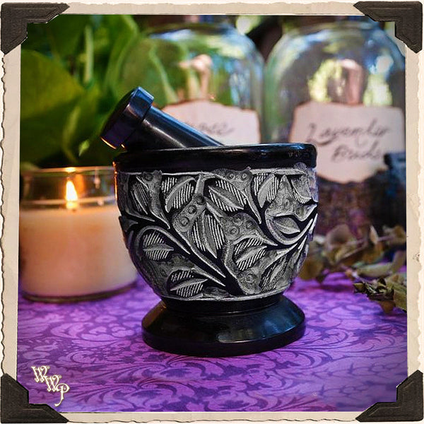 PESTLE & MORTAR Black Floral Carved Soapstone botanical grinder for Incense, resins & herbs.