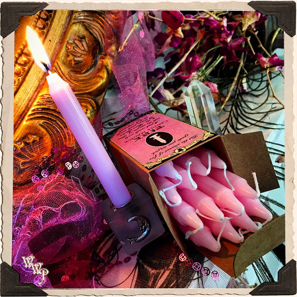 PINK SPELL CANDLES. 13 Pack - Unscented. Mini Taper Candle Magick for Love, Heart & Compassion.