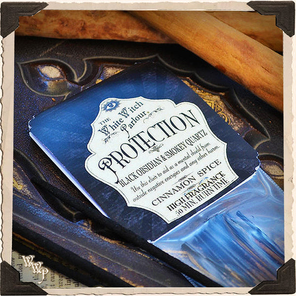 PROTECTION Elixir INCENSE. 20 Stick Pack. Scent of Cinnamon & Spice. Blessed by Smoky Quartz & Obsidian.