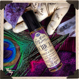 PSYCHIC EYE Elixir 1/3oz. BODY OIL Rollon. Mulberry, Vanilla & Tobacco, Labradorite and Sodalite Crystals.