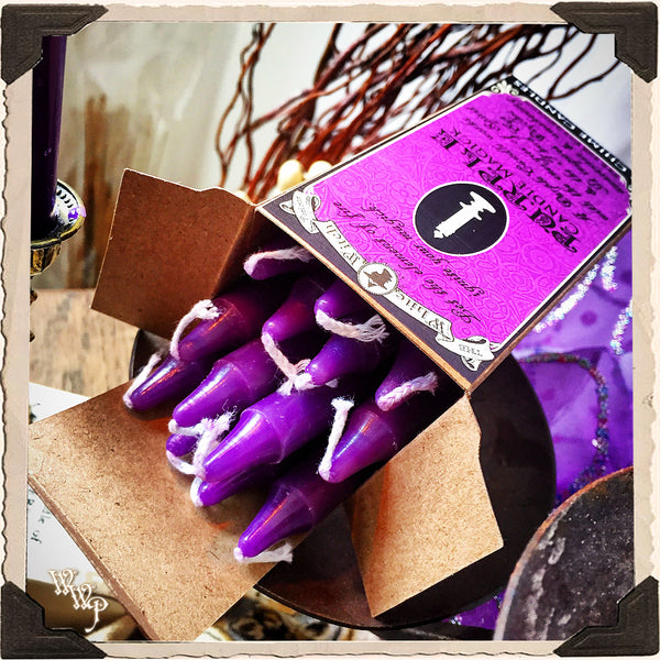 PURPLE SPELL CANDLES. 13 Pack - Unscented. Mini Taper Candle Magick for Spirit Element & Third Eye.