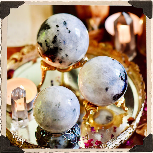 RAINBOW MOONSTONE CRYSTAL SPHERE. For Full Moon, Feminine Energy & Calming Emotions.