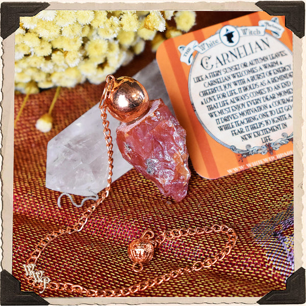 RAW CARNELIAN CRYSTAL PENDULUM. For Positive Energy, Motivation & Courage.