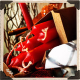 RED SPELL CANDLES. 13 Pack - Unscented. Mini Taper Candle Magick for Fire, Earth Element & Root Chakra.
