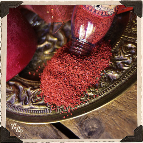 RED RITUAL SALT. Root. Blessed with Red Tiger's Eye & Red Sandalwood on a Full Moon