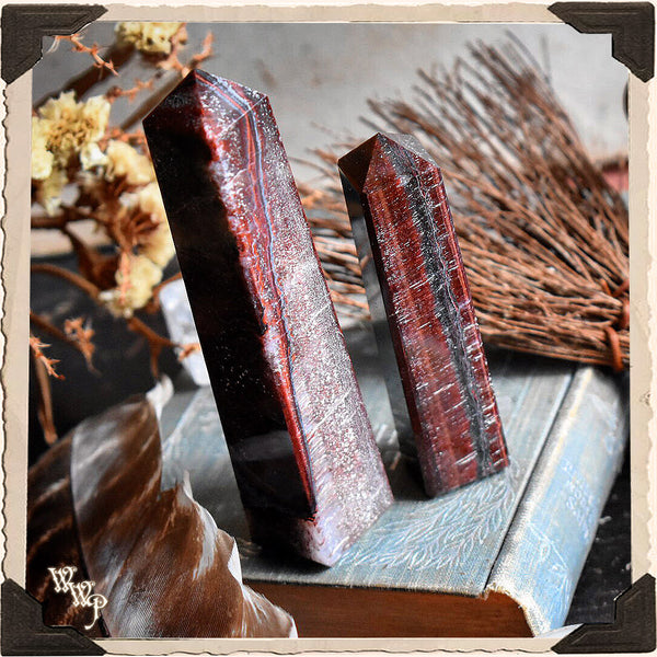 RED TIGER'S EYE OBELISK CRYSTAL. For Motivation, Kundalini & Manifestation.