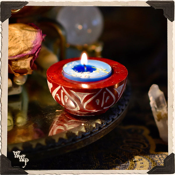 RED SOAPSTONE TEALIGHT CANDLE HOLDER. For Cone Incense & Altar Decor