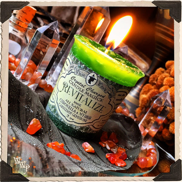 REVITALIZE VOTIVE CANDLE. All Natural Myrrh Resin, Citronella Essential Oil & Carnelian Crystal