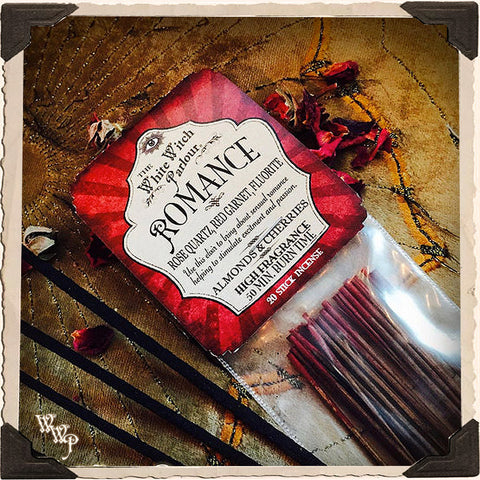 ROMANCE INCENSE. 20 Stick Pack. Scent of Cherries & Almonds. Blessed by Rose Quartz, Fluorite & Red Garnet Crystals.