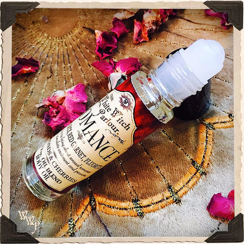 ROMANCE Elixir 1/3oz. Body Oil Rollon. Scent of Cherries & Almonds. Blessed by Rose Quartz, Fluorite & Red Garnet Crystals.
