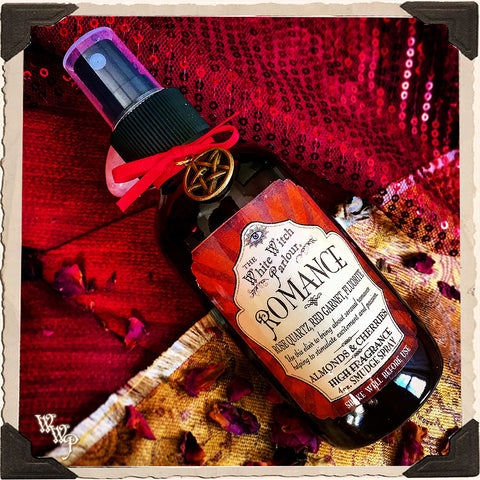 ROMANCE Elixir 4oz. SMUDGE SPRAY. Scent of Cherries & Almonds. Blessed by Rose Quartz, Fluorite & Red Garnet Crystals.
