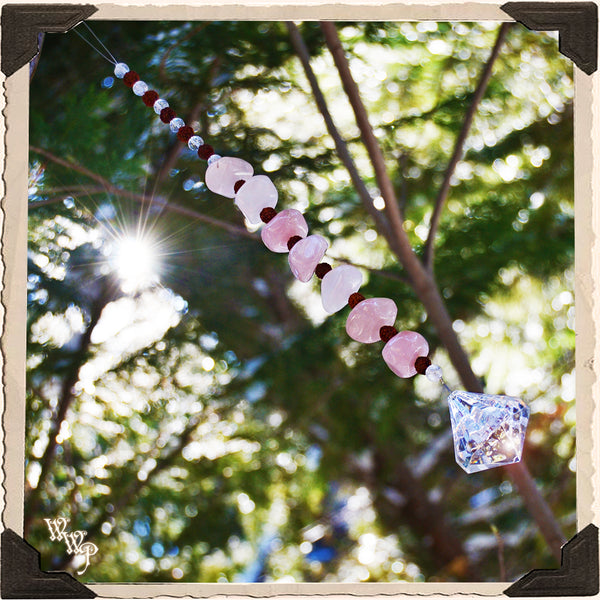 ROSE QUARTZ CRYSTAL SUN CATCHER. For Universal Love, Happiness & Friendship.