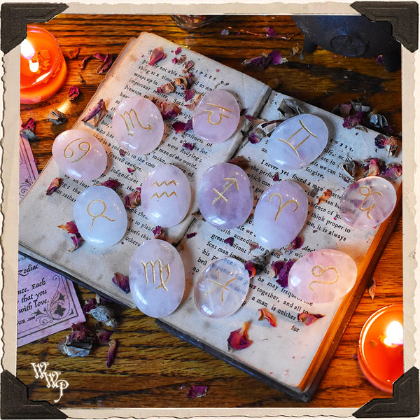 ROSE QUARTZ ZODIAC / ASTROLOGY CRYSTAL SET. For Love, Heart Guidance & Astrological Insights.