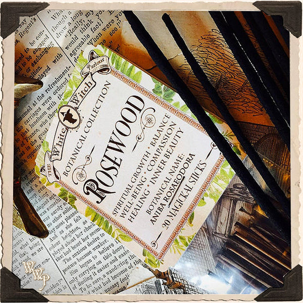 ROSEWOOD INCENSE. 20 Stick Pack. Single-Note Botanical Sweet Wood Scent, Blessed by Clear Quartz Crystal.