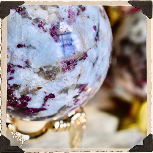 RUBELLITE CRYSTAL SPHERE. Plum Tourmaline For Self Confidence, Psychic Attacks & Heart Chakra Protection.