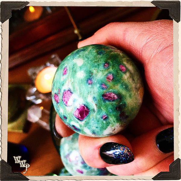 RUBY ZOISITE SPHERE Crystal. For Spiritual Balance & Divine Guidance. 51mm