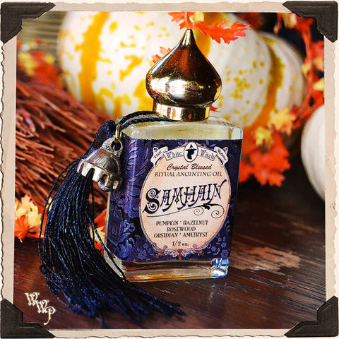 SAMHAIN 1/2oz. Alchemy RITUAL OIL. Scent of Pumpkin, Hazelnut & Rosewood. Blessed by Amethyst & Obsidian.