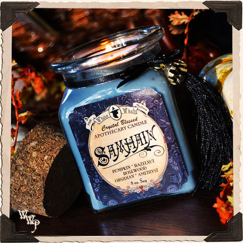SAMHAIN APOTHECARY CANDLE 8oz. Scent of Pumpkin, Hazelnut & Rosewood. Blessed by Amethyst & Obsidian.