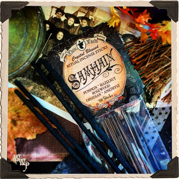 SAMHAIN INCENSE. 20 Stick Pack. Scent of Pumpkin, Hazelnut & Rosewood. Blessed by Amethyst & Obsidian.