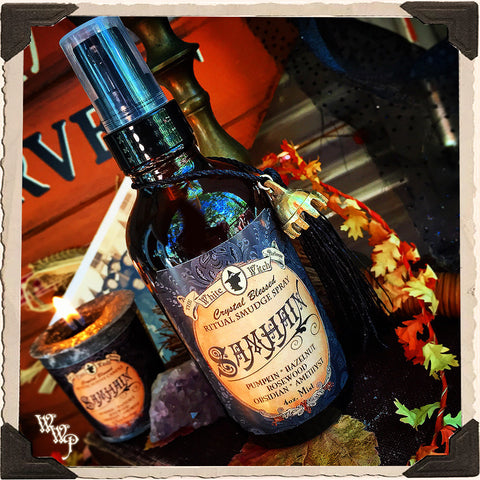 SAMHAIN 4oz. Alchemy RITUAL SMUDGE SPRAY. Scent of Pumpkin, Hazelnut & Rosewood. Blessed by Amethyst & Obsidian.
