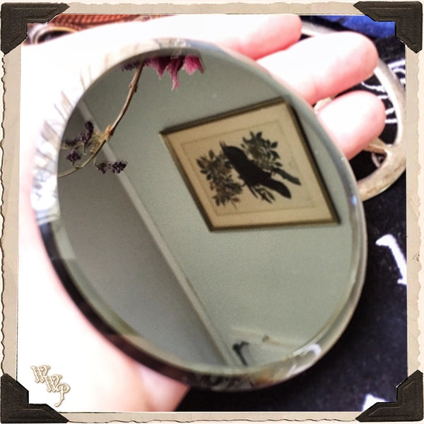 Mini Scrying Mirror. Occult Divination & Fortune Telling Black / Grey Mirror. Altar Decor