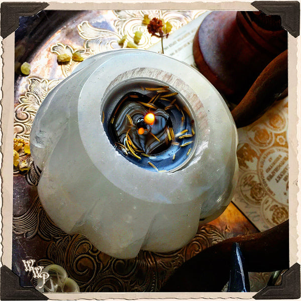 SELENITE CANDLE TEALIGHT HOLDER. For Full Moon Magick, Goddess & Cleansing Energy