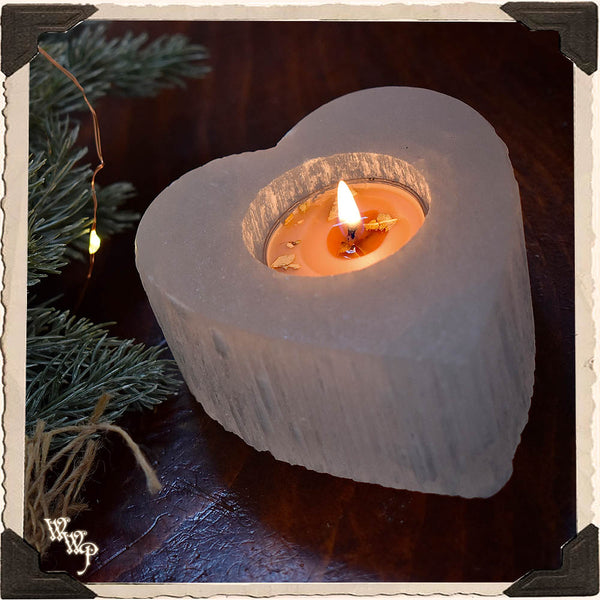 SELENITE HEART Crystal Tealight Candle holder. For Full Moon Magick, Goddess & Cleansing Energy.
