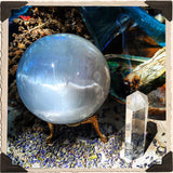 SELENITE SPHERE Crystal. For Full Moon Magick, Goddess & Cleansing Energy. 70mm