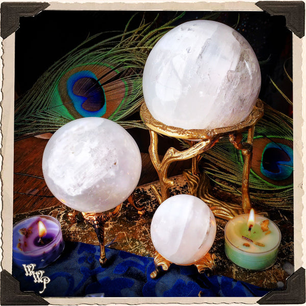 SELENITE SPHERE CRYSTAL. For Full Moon Magick, Goddess & Cleansing Energy