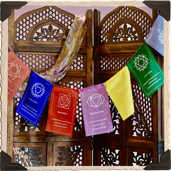 DISCONTINUED: SEVEN CHAKRA PRAYER FLAGS. For Spiritual Decor.