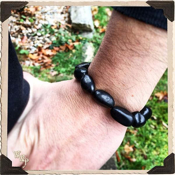 ANCIENT SHUNGITE BRACELET. Stone Nuggets For Shamanic Healing, Transformation & Earth Connection.