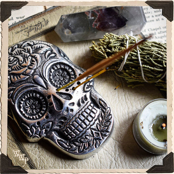 SKULL INCENSE HOLDER For Day of The Dead, Ritual & Samhain.
