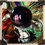 PEWTER CAT SPHERE STAND/ BASE. Witch's Crystal Sphere Holder. 40mm - 70mm.