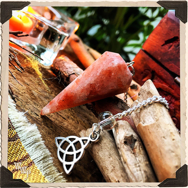SUNSTONE CRYSTAL PENDULUM with Triquetra Charm. For Masculine Sun Energy & Happiness.