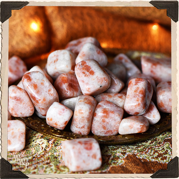 SUNSTONE TUMBLED CRYSTAL. For Masculine Sun Energy & Happiness.