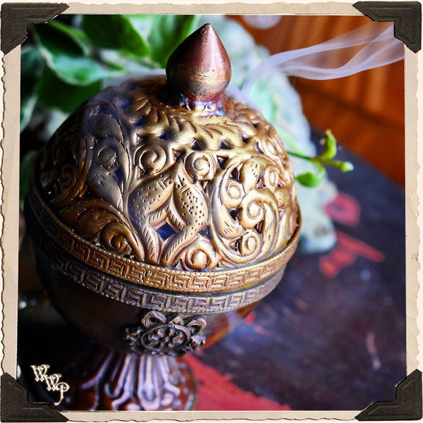 TIBETAN ANTIQUE-STYLE CENSER. Brass Altar Decor For Incense & Candles