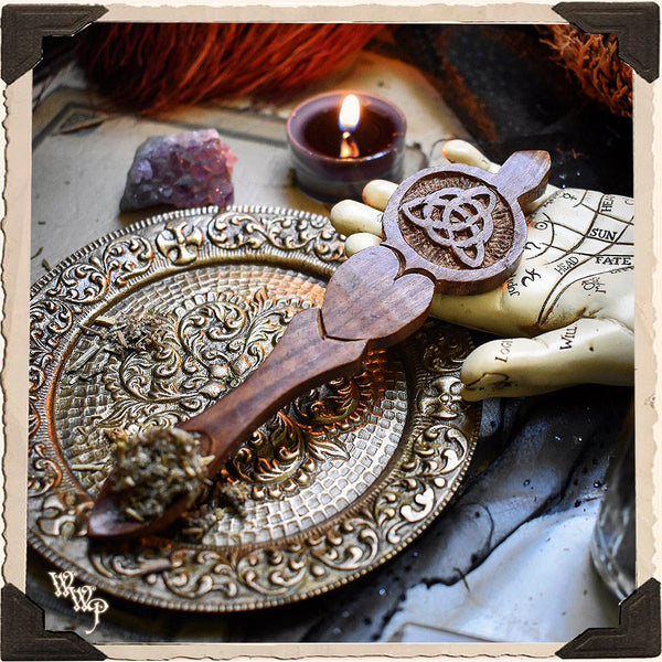 TRIQUETRA WOODEN SPOON. Carved Celtic Knot For Incense, Resin & Herbs.