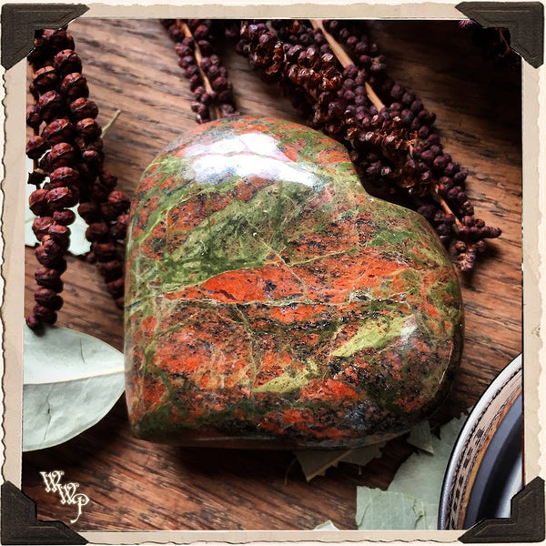 UNAKITE CRYSTAL HEART. For Fertility, Grounding & Healing.