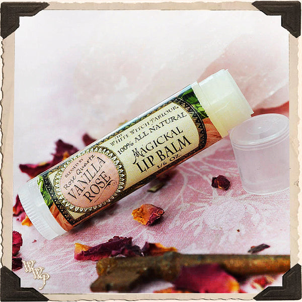 VANILLA ROSE Lip Balm All Natural. Blessed by Rose Quartz Crystal.
