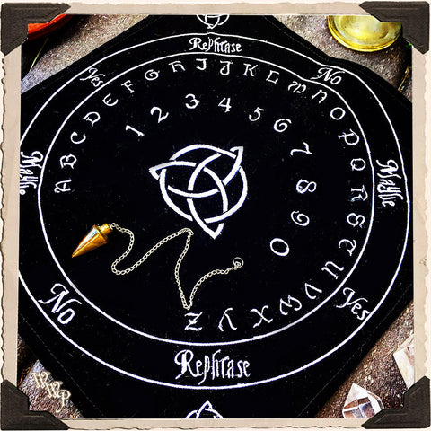 BLACK VELVET PENDULUM MAT. With Celtic Triquetra For Divination & Spiritual Insight.