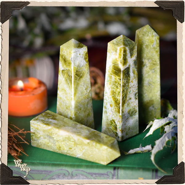 VESUVIANITE (IDOCRASE) CRYSTAL OBELISK . For Anxiety, Cooperation & Balance