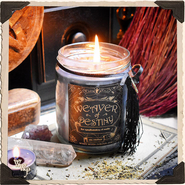 WEAVER OF DESTINY APOTHECARY CANDLE 16oz. For Manifestation of Reality & Conjuring Ideal Outcomes.