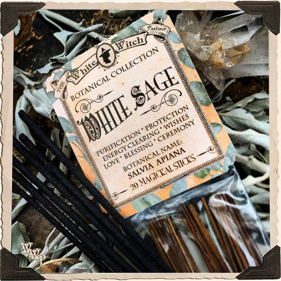 WHITE SAGE INCENSE. 20 Stick Pack. Single-Note Botanical. Blessed by Clear Quartz Crystal.
