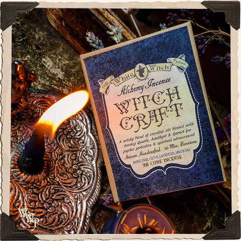 WITCH CRAFT CONE INCENSE. 20 Pack. Clove, Lavender, Birch Tar & Anise. Blessed by Smoky Quartz, Garnet & Amethyst. For Protection & Spiritual Advancement.