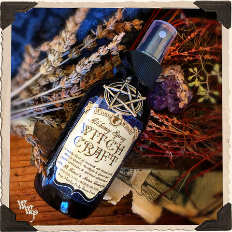 WITCH CRAFT 4oz. Alchemy SMUDGE SPRAY. All Natural. Clove, Lavender, Birch Tar & Anise. Blessed by Smoky Quartz, Garnet & Amethyst. For Protection & Spiritual Advancement.